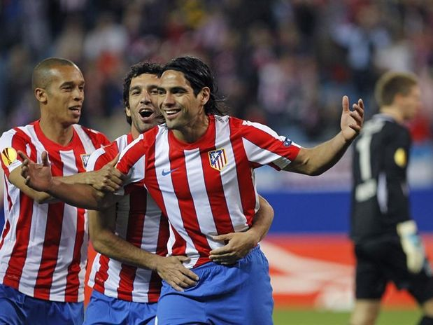 ATLETICO MADRID STRIKER RADAMEL FALCAO WITH ARDA TURAN AND MIRANDA